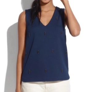 Madewell Navy Embellished V-Neck Top 09343